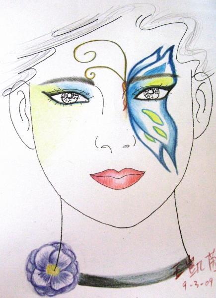 简单手绘彩妆图片