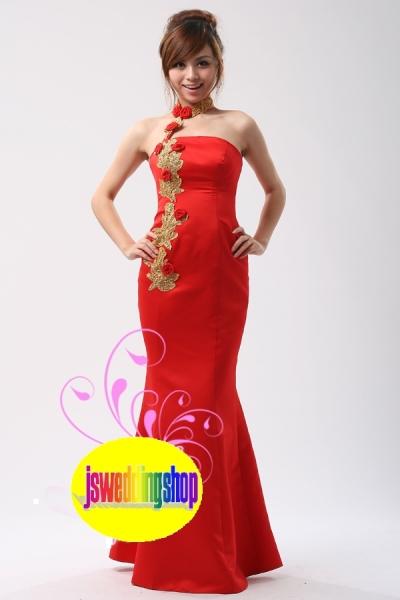 挂颈红色礼服529
