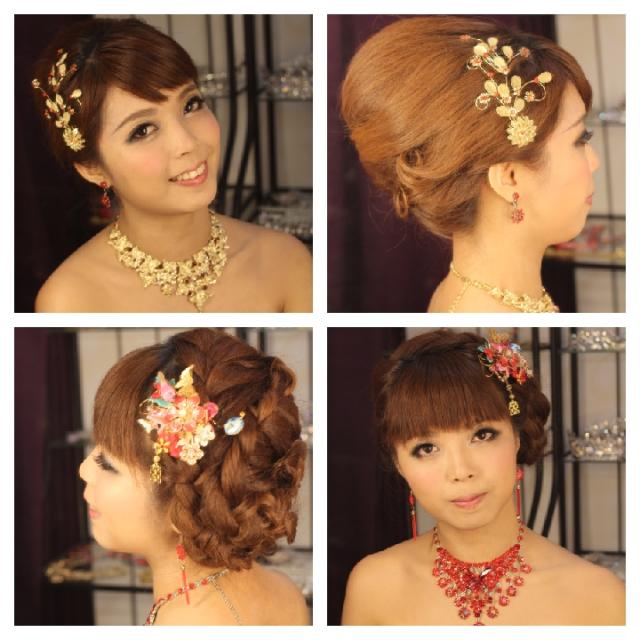 新娘化妆造型相片, 婚纱同敬酒发型