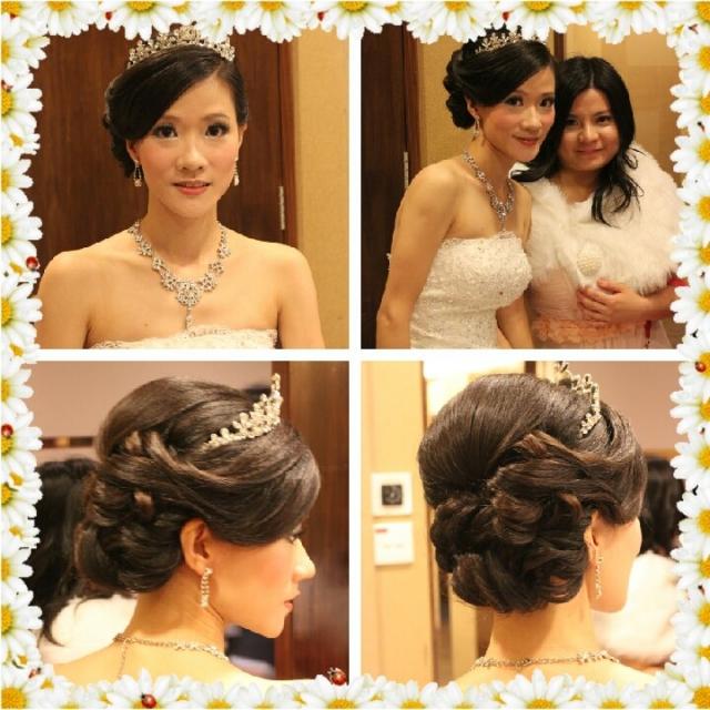 新娘中式敬酒发型, 新娘化妆, 试妆, 韩式发型试妆相, 鲜花头饰, 短发图片