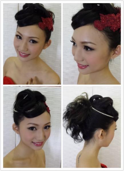 短发新娘造型 婚纱 中式裙挂 晚妆 化妆及发型变化