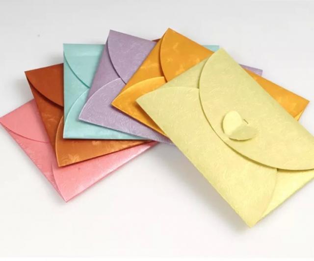 粉红色压花珠光纸邀请card信封