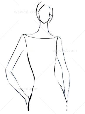 一字肩婚纱手绘设计图