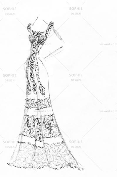 婚纱手绘设计图铅笔画鱼尾