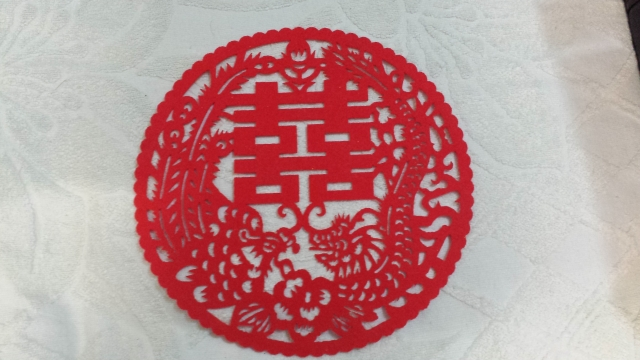 圆形喜雀绒面喜字贴,  29cm, $8 h.