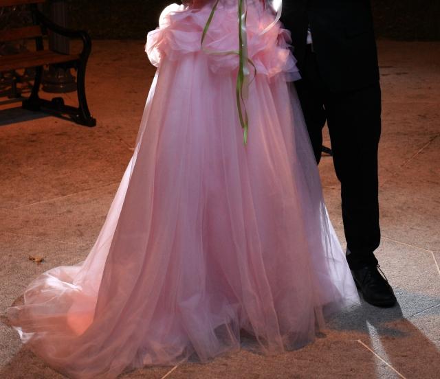 仿 vera wang 淡粉色多层 a-line 花花婚纱    ( 连同色手套和头纱